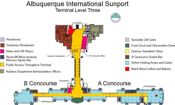 Albuquerque Airport Information  ABQ Parking Amp Terminal Map